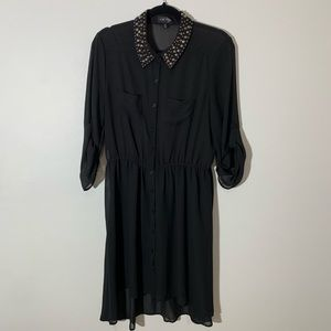 Chiffon button down dress Hi-low black XLarge